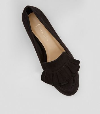 Wide Fit Black Frill Trim Loafers