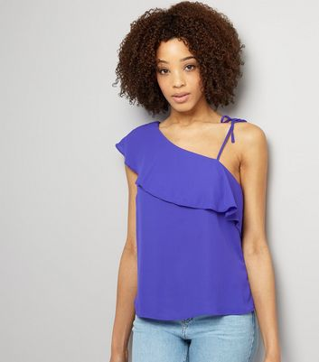 Purple Frill Trim Tie Strap Off the Shoulder Top