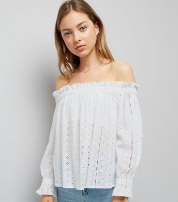 White Cut Out Embroidered Bardot Neck Top