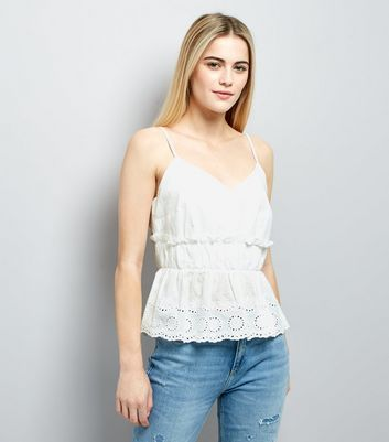White Gathered Broderie Peplum Hem Cami
