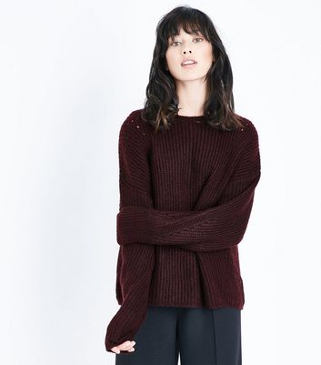 Burgundy Ribbed Balloon Sleeve Jumper