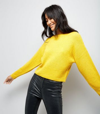 Yellow Drop Arm Cropped Jumper