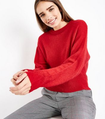 Red Drop Arm Cropped Jumper