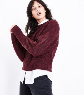 Burgundy Drop Arm Cropped Jumper