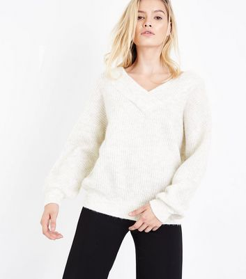 Cream Bardot Neck Jumper