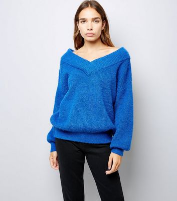 Blue Sweetheart Neck Jumper