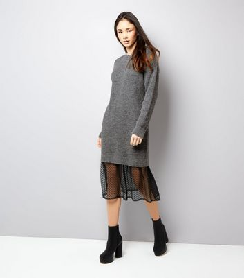 Grey Polka Dot Mesh Panel Jumper Dress