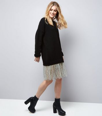 Black 2 In 1 Lace Hem Jumper Dress