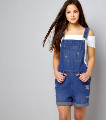 Teens Blue Ripped Short Dungarees