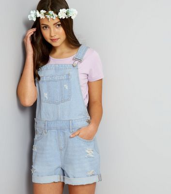 Teens Pale Blue Ripped Short Dungarees