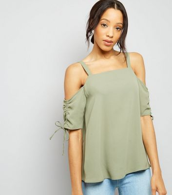 Tall Khaki Green Cold Shoulder Top