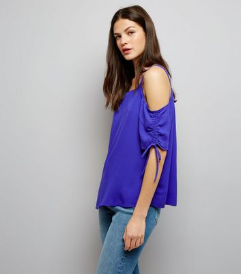Tall Purple Ruched Sleeve Cold Shoulder Top