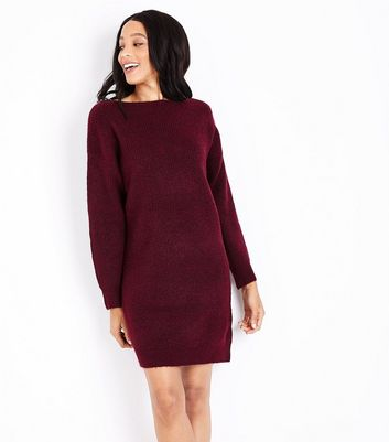 Burgundy Bar Back Jumper Dress
