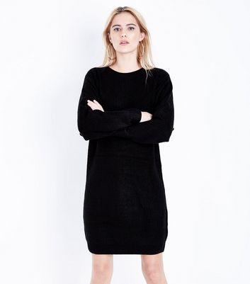 Black Ribbed Batwing Sleeve Jumper Dress