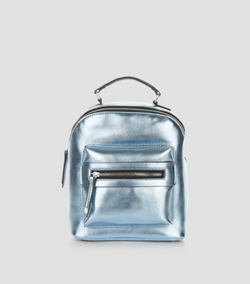 Blue Pocket Front Mini Backpack