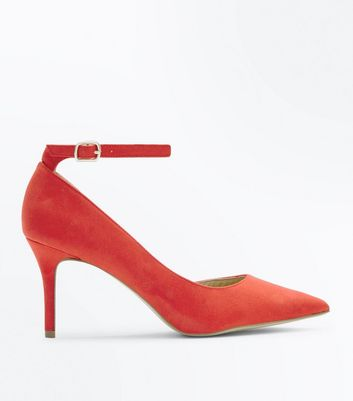 Red Suedette Ankle Strap Pointed Court Shoes