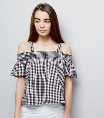 Teens Black Gingham Shirred Cold Shoulder Bardot Neck Top