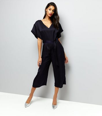 Mela Black Cropped Jumpsuit