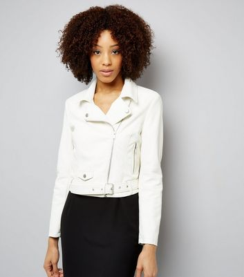 Cream Belted Leather-Look Jacket