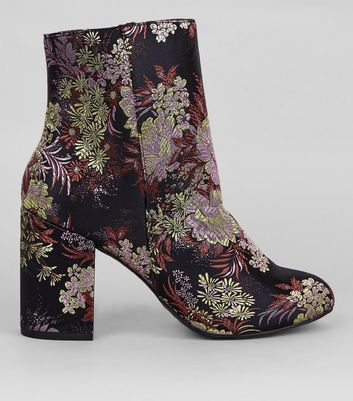 Black Floral Brocade Heeled Boots