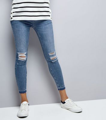Maternity Dark Blue Ripped Skinny Jeans