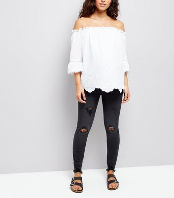 Maternity Black Ripped Under Bump Skinny Jeans