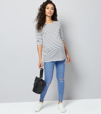 Maternity Blue Over Bump Ripped Skinny Jeans