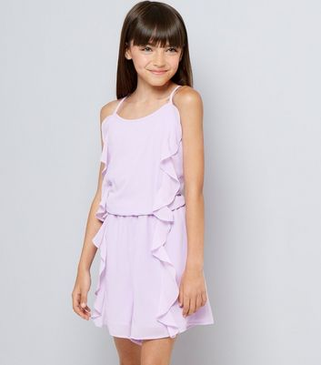 Teens Lilac Frill Front Playsuit