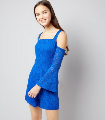 Teens Blue Lace Bell Sleeve Playsuit