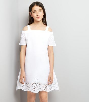 Teens White Broderie Hem Bardot Neck Dress