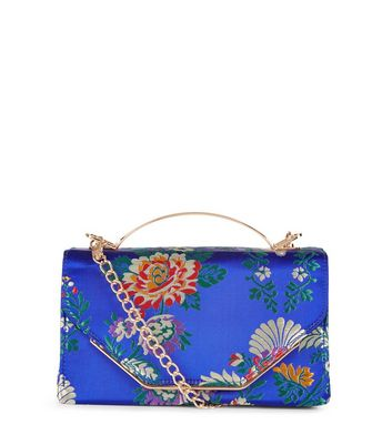 Blue Floral Jaquard Metal Handle Bag