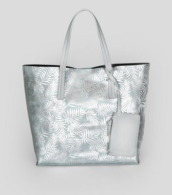 Silver Metallic Palm Print Shopper Bag