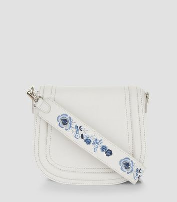 Grey Floral Embroidery Saddle Bag