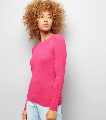 Bright Pink Ribbed Jumper