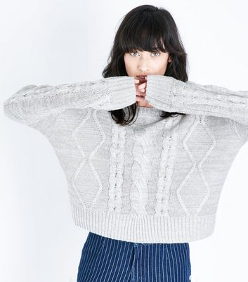 Grey Chunky Cable Knit Drop Shoulder Jumper