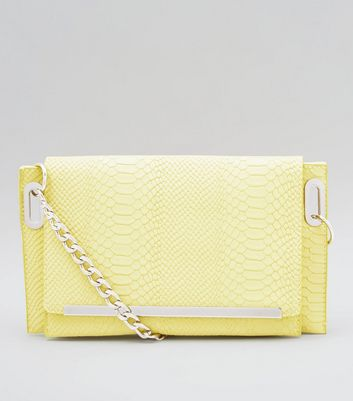 Washed Neon Lime Snakeskin Texture Cross Body Bag