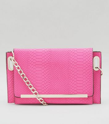 Pink Snakeskin Texture Cross Body Bag