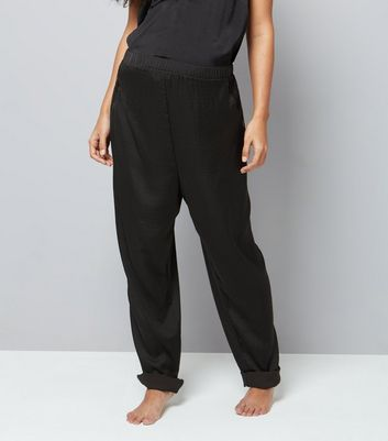 Maternity Black Satin Lace Trim Pyjama Bottoms