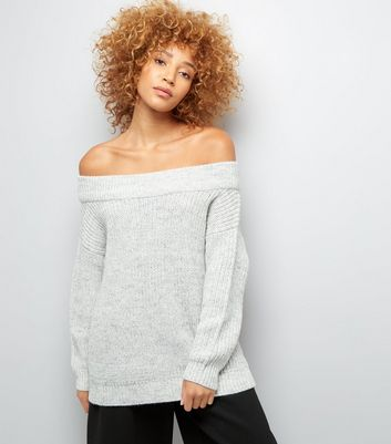 Pale Grey Ribbed Bardot Neck Jumper