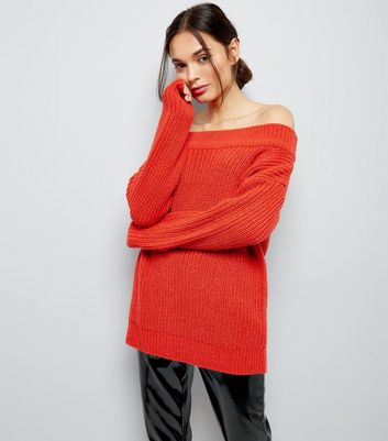 Orange Ribbed Bardot Neck Jumper