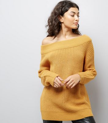Mustard Yellow Ribbed Bardot Off the Shoulder Jumper