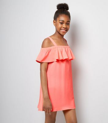Teens Coral Frill Trim Bardot Neck Dress