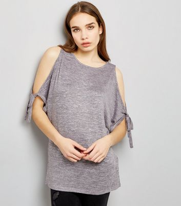Light Purple Tie Sleeve Cold Shoulder Longline Top