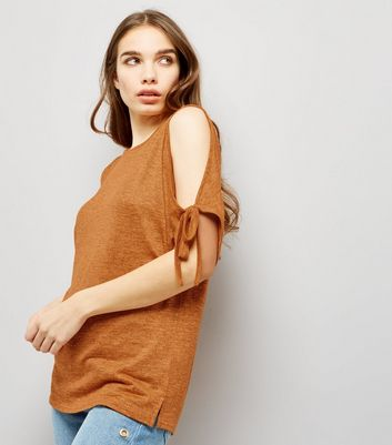 Orange Cold Shoulder Tie Sleeve Top