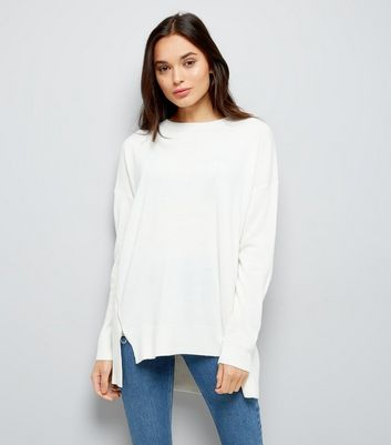 White Zip Side Crew Neck Jumper