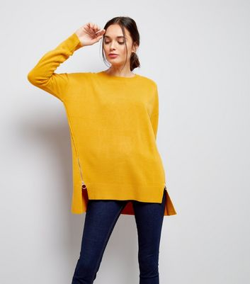 Yellow Zip Side Crew Neck Jumper
