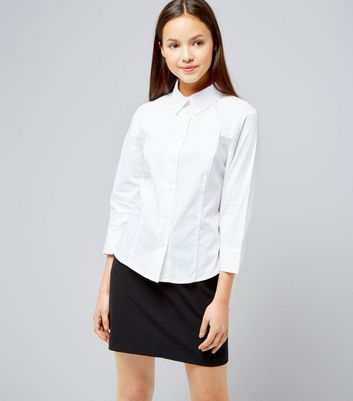 Teens White 3/4 Sleeve School Shirt