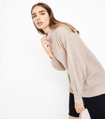 Cream Longline Funnel Neck Jumper
