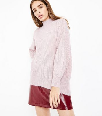 Lilac Longline Funnel Neck Jumper