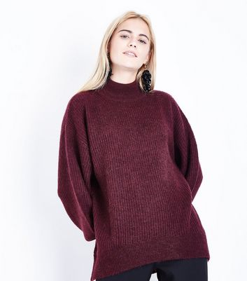 Purple Longline Funnel Neck Jumper